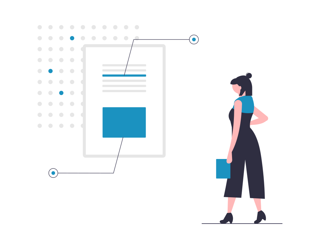 Vector of woman looking at credit report online.