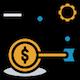 Orange & blue financial goal icon.