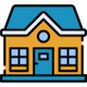 Blue & orange house icon.