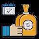 Blue & orange line of credit icon.