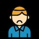 Orange & blue person icon under stress.