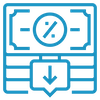 Blue icon for low interest rate.