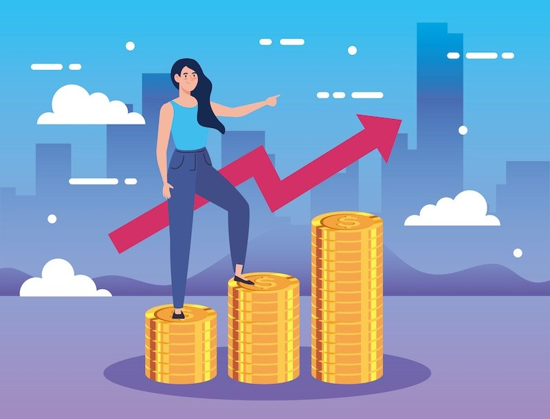 Vector illustration of woman standing on top of gold coins as she completes the credit consultation service of credit repair.