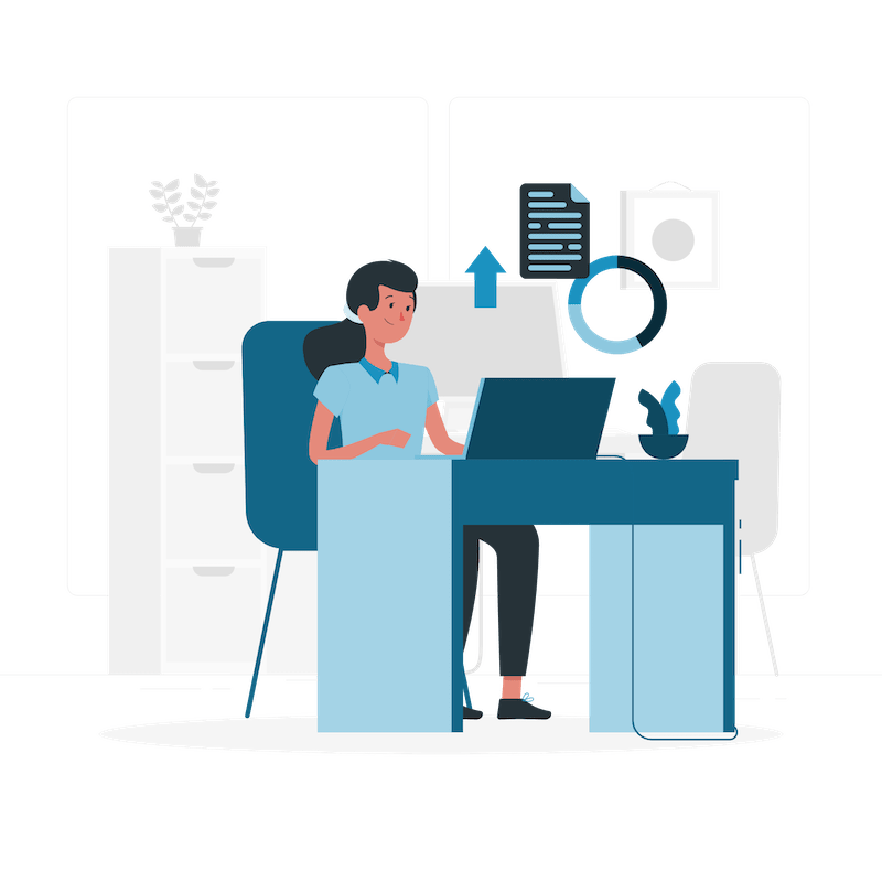 Illustration of person on computer during a credit consultation.