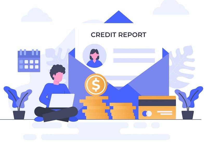 Illustration of two people analyzing their credit reports.
