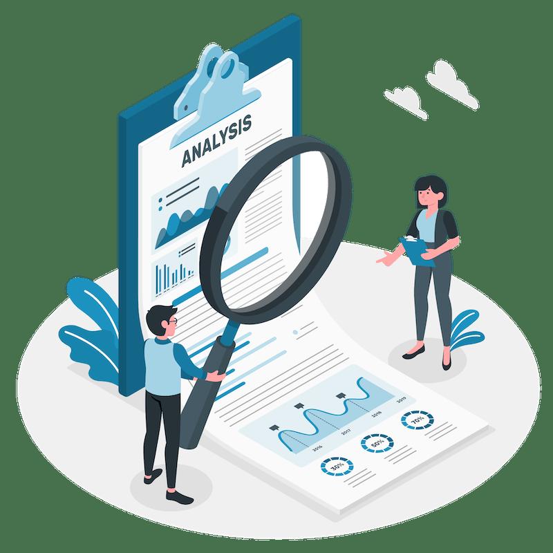 Vector illustration of a credit score repair analysis report.