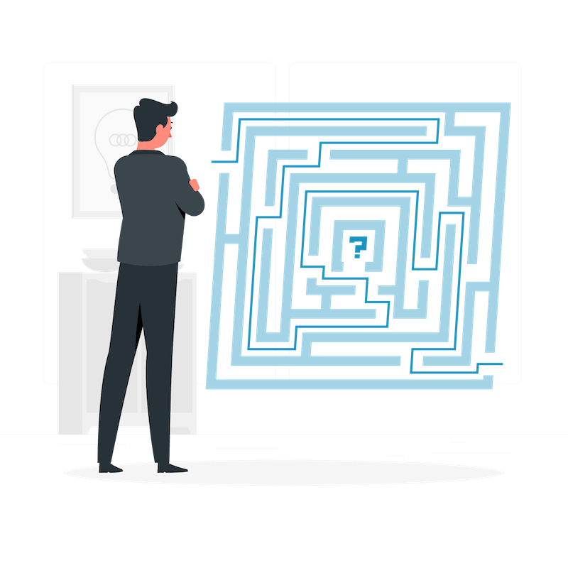 Illustration of a man with folded arms viewing a complicated grid.