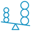 Blue unbalanced scale icon representing ratio of debt and credit.